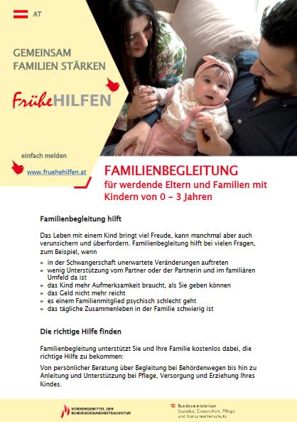 Bild von Eltern mit Baby und Erklärtext, wie Frühe Hilfen Eltern unterstützen können