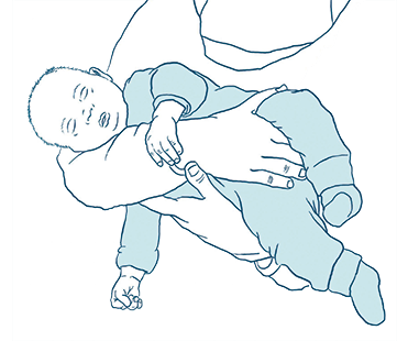 Grafik zeigt wie ein Baby halten