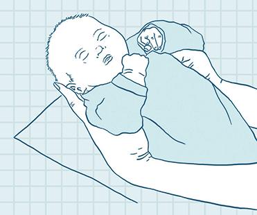 Grafik zeigt wie ein Baby hochnehmen