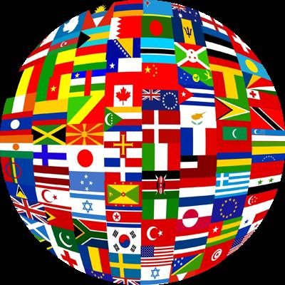 Grafik zeigt Globus mit Flaggen von Staaten