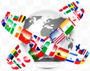 zeigt die Fahnen der Nationen rund um den Globus